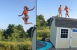 Οροφή + τραμπολίνο + πισίνα= Fail